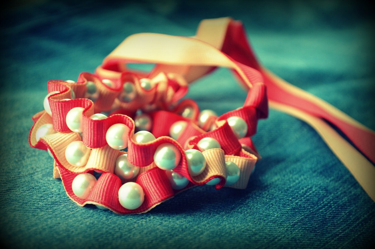 Ribbon Necklace -The Twillypop VIVID Collection -Sarah Ribbon and Pearls Necklace in Juicy Peach and Sunsoaked Guava