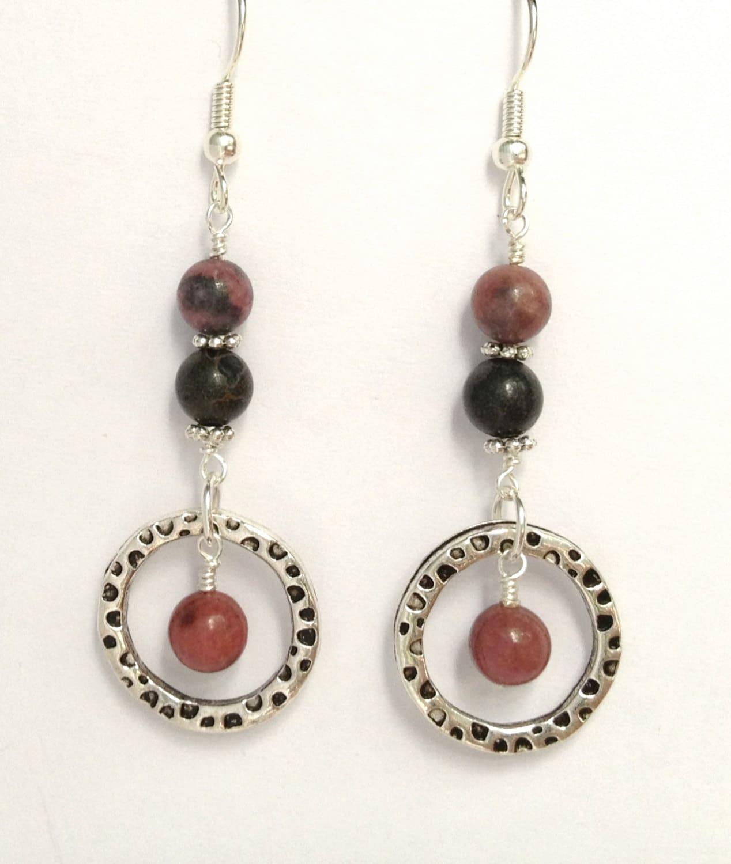 Earrings pink hoop dangle silver bead - LarisJewelryDesigns