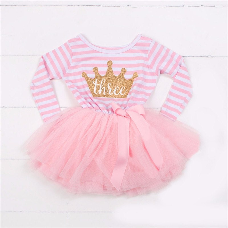 Pink 3rd BIRTHDAY girls TUTU DRESS  Party Outfit Cake Smash Gold Glitter Tiara Crown Striped Bow Ribbon