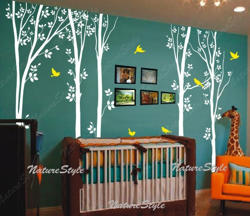 Birch tree wall decals children baby boy girl by naturestyle for Autocollant mural arbre