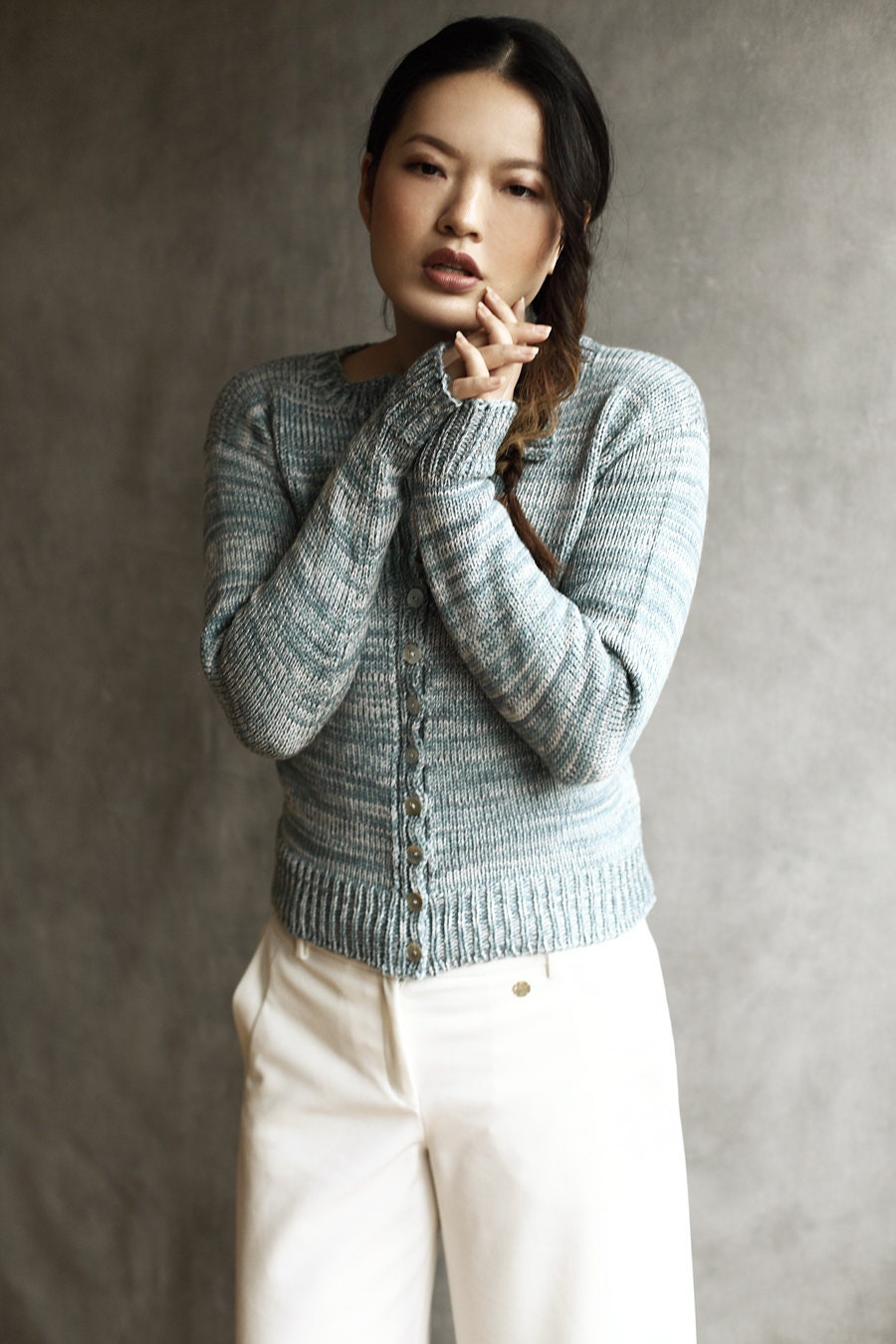 100 Merino Wool Chunky Buttoned HandMade Knitted Cardigan BlueCream Marl Mother Of Pearl Buttons