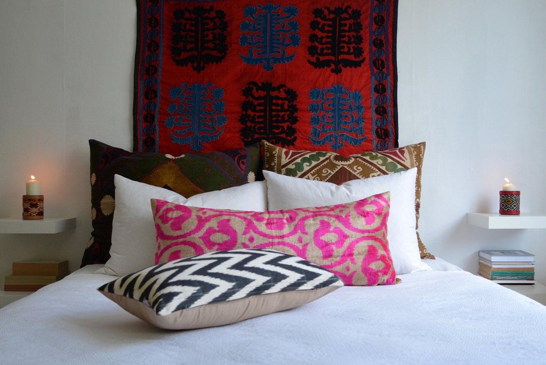 Sukan / SALE, Silk Velvet Ikat Pillow Cover - decorative covers - throw pillows - lumbar pillow cover - Beige, Pink Color