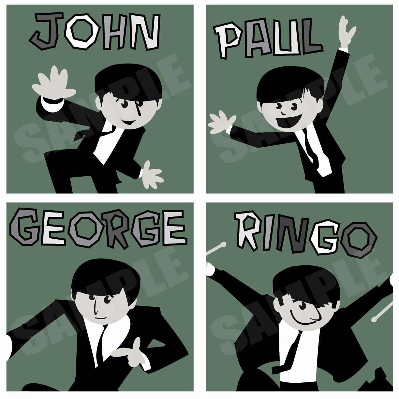 Beatles Squares - Original Fab Four Artwork - Set of 4 Original Artwork Prints - TheDrewBlank