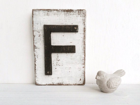 f letter metal and wood wall decor shabby chic by oldnewagain. Black Bedroom Furniture Sets. Home Design Ideas