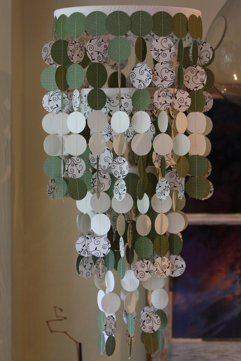 Items Similar To Ready To Ship Paper Chandelier Mobile Beautiful For Weddings Nurseries Or