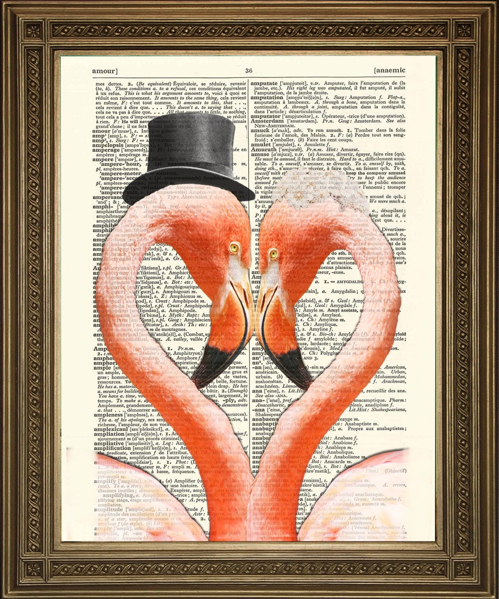 FLAMINGO HEART PRINT Romantic Pink African Bird Wedding Marriage Art on Vintage Dictionary Page (8 x 10 Wall Hanging)