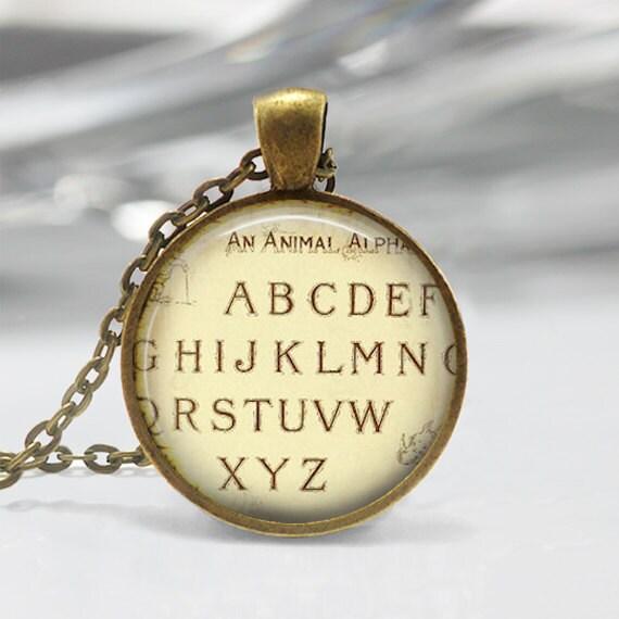 Vintage Alphabet Pendant - Alphabet Jewelry Resin Pendant  Letters Pendant Alphabet Charm Necklace C185