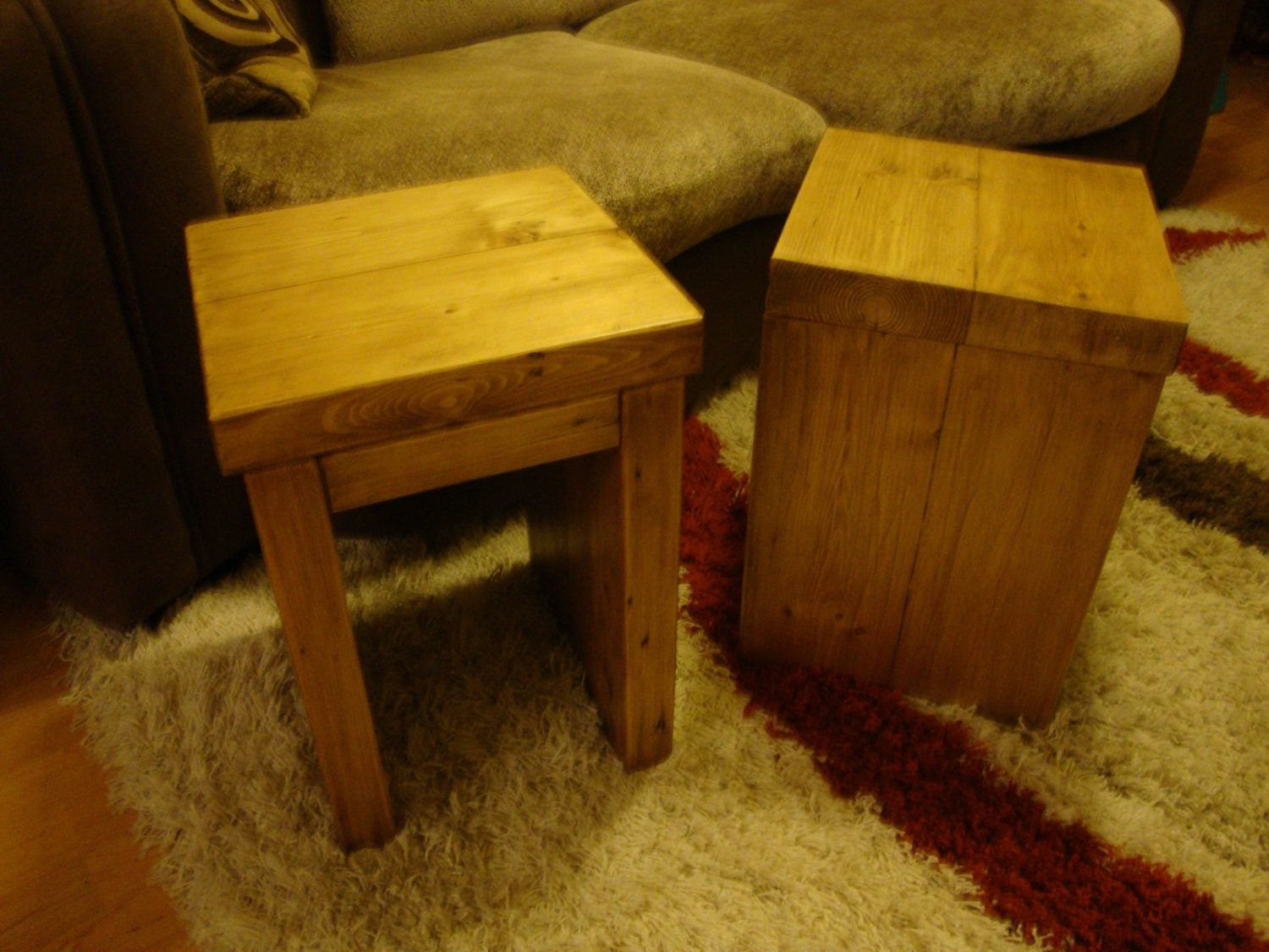 Pair of Chunky rustic reclaimed pine timber side end lamp tables