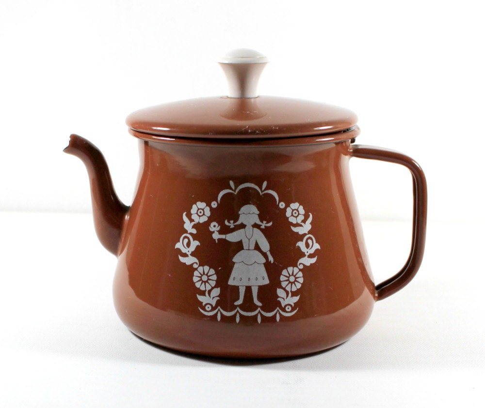 1940s Antique Petite Brown Enamel Teapot Tea Kettle with Swiss Girl by Uptown Vintage - UptownVintage