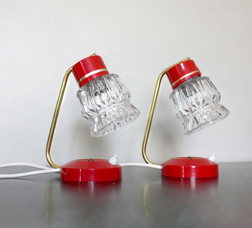 Vintage Lighting. 1960s Small Bedside Table Lamps. Transparent  Ice Glass Shades. Scarlet Red and Gold Metal detail - ProjectSarafan
