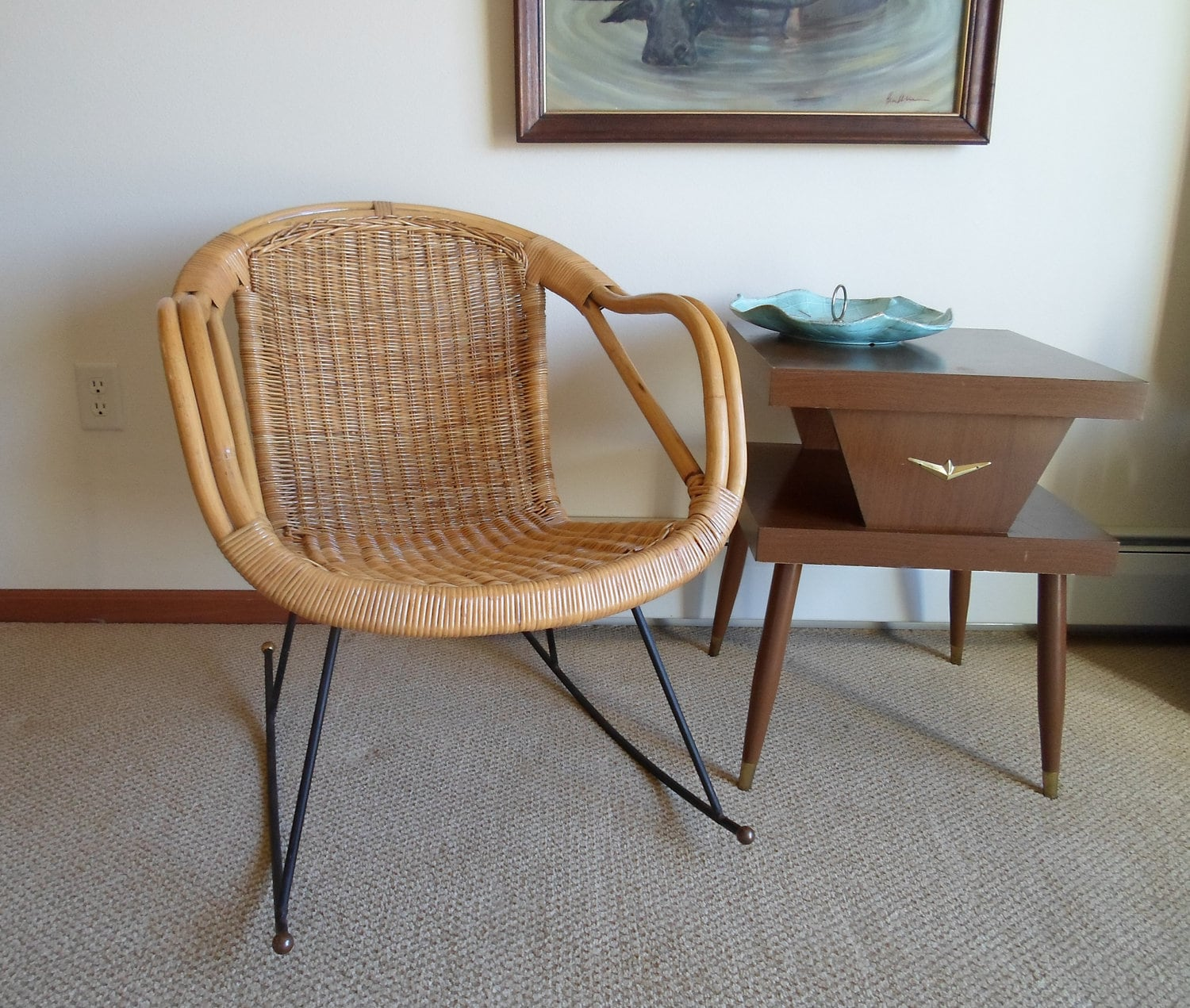 Vintage Mid Century Modern Rattan Wicker And By Alsredesignvintage