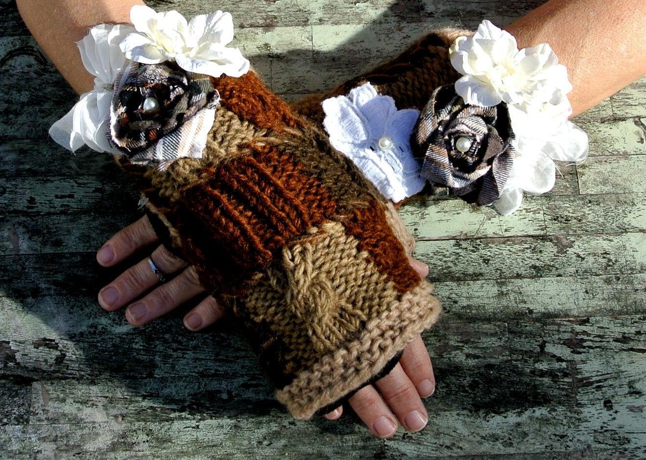 Цыганская Лесной Руки Подогреватели Веселые Pixie Fairy Лесная девушка Шоколад Браун деревенском ранчо носить ручной розетки