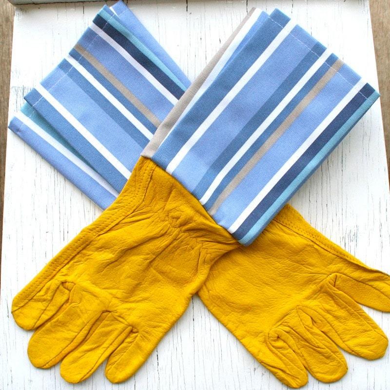 "Mens ""Balmoral"" Blue Stripe  - Tan Leather Gauntlet Gardening Glove / Mens Glove / Work Glove - HomegrownHandmade"