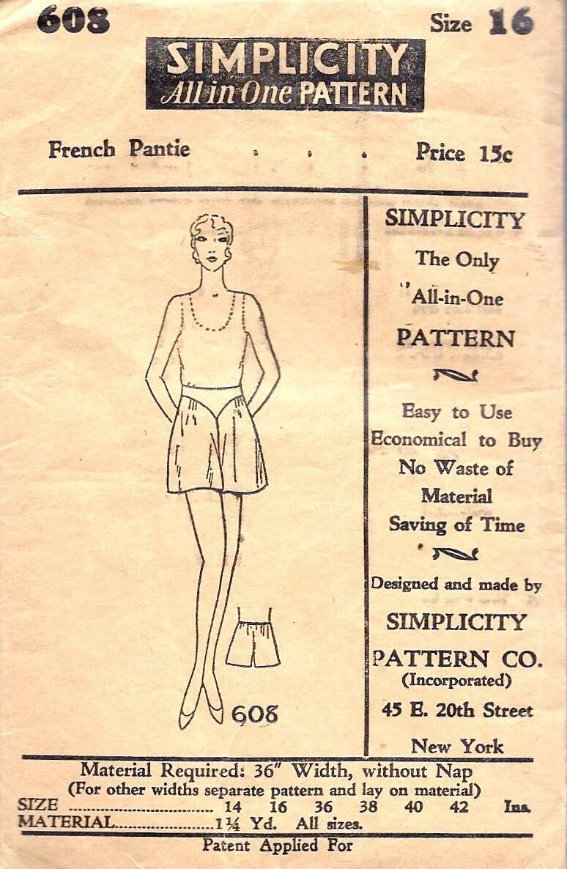 "1920's French Pantie Pattern Vintage Sewing Pattern Simplicity 608 waist 28"" uncut - MissBettysAttic"