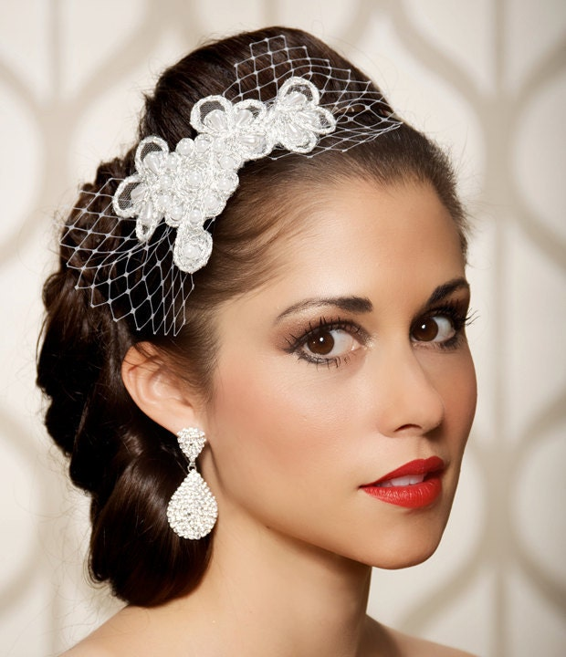 Silver White Lace Bridal Headband Bridal Hair Accessories Head Piece