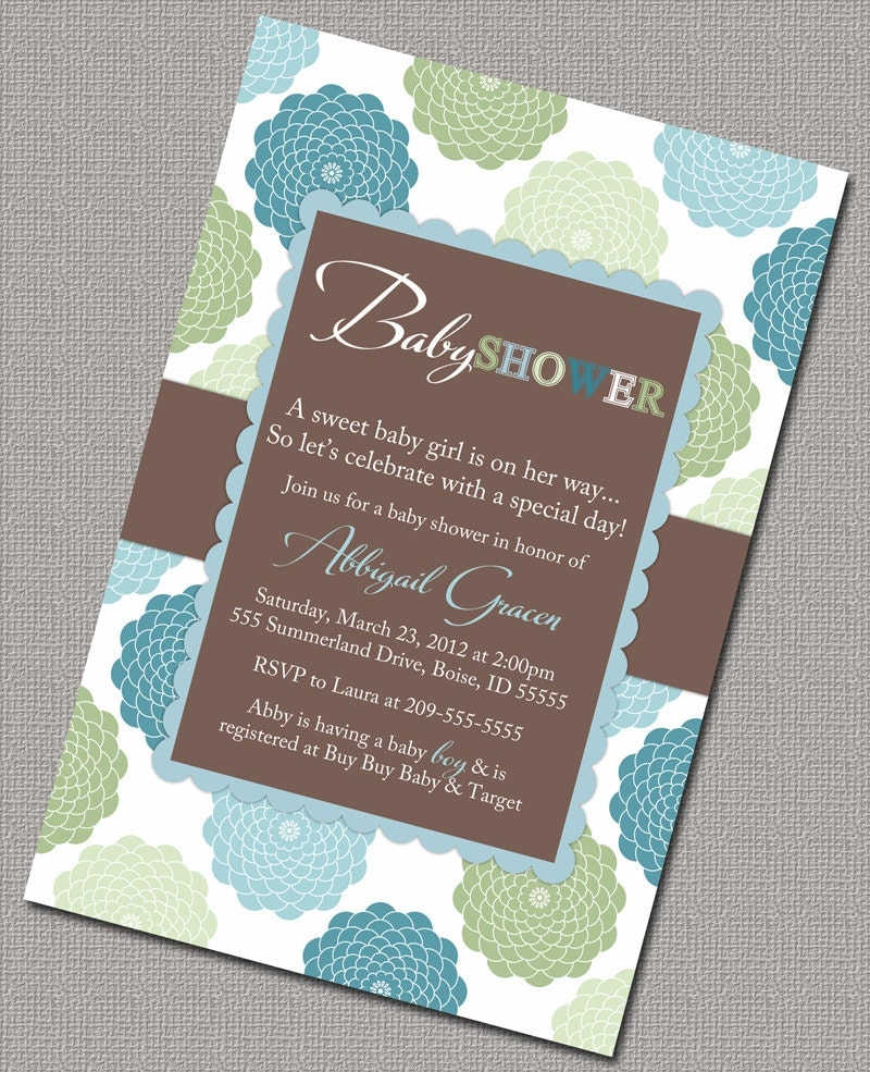 baby boy shower invitations blue green and brown floral baby shower