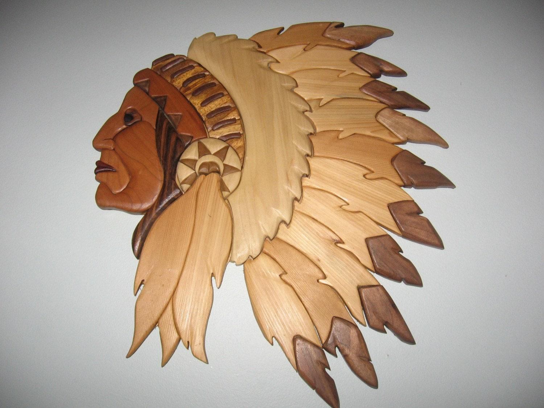 Indian Head Handmade Intarsia Wood Art Wall Hanging By