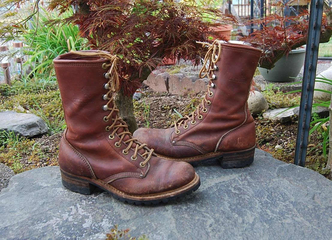 Vtg Carolina Tall Lineman Logger Boots Made In By