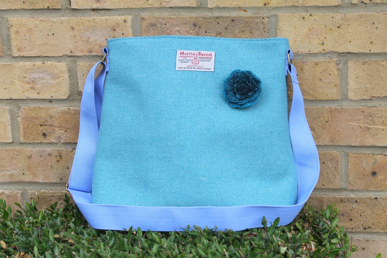 HARRIS TWEED bag crossbody bag Tweed purse aqua Harris tweed cloth