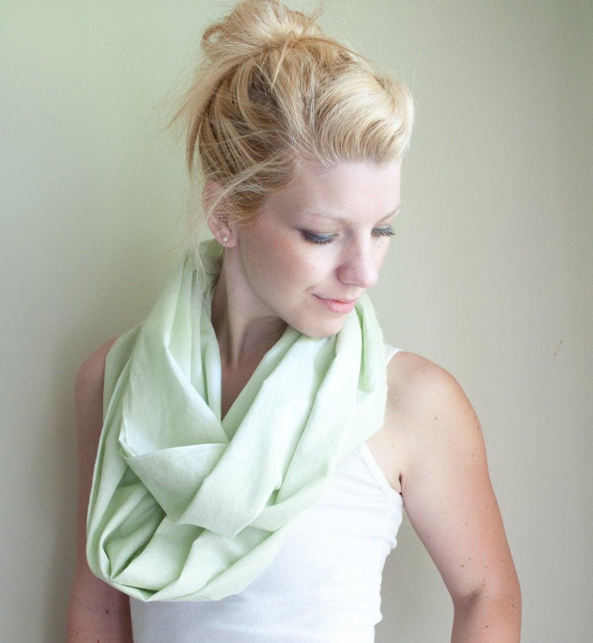 infinity scarf cowl handdyed - soft mint - lightweight cotton - CThandmade