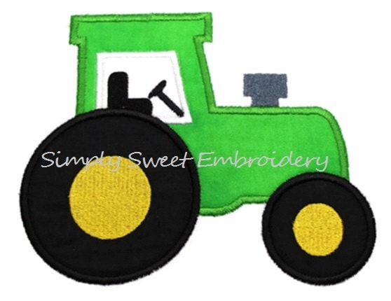Tractor machine embroidery applique design by
