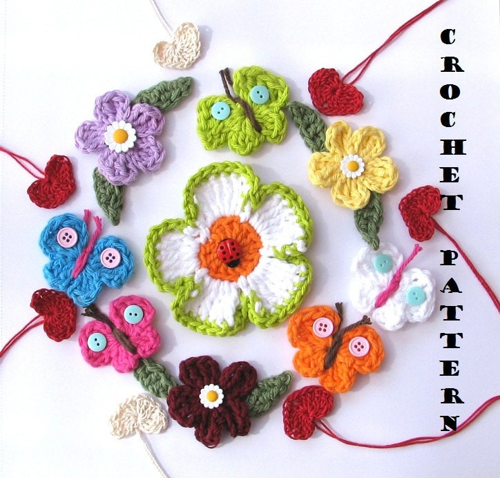 Crochet Pattern Appliques, Flowers, Heart, Butterfly, Easy, Great for Beginners, 5 applique motif patterns in one, Pattern No. 1