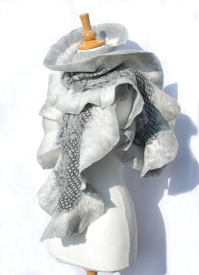 Felted scarf   felt ruffle scarf merino wool nunofelt  fiber art gift nuno felt gray grey white - AnnaWegg