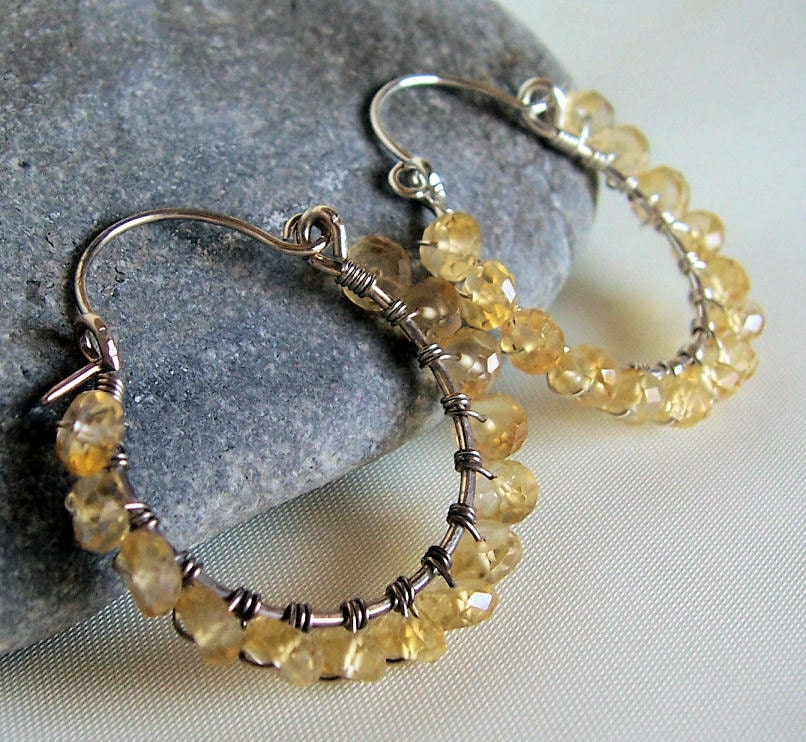 Citrine and sterling silver wire wrapped hoop earrings