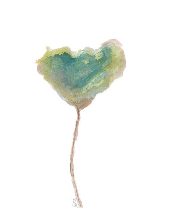 Tulip Watercolor Flower Painting Green Tulip By