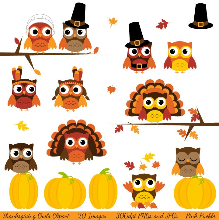 Thanksgiving Owls Clipart Clip Art, with Turkey, Pilgrims, Indians - Commercial and Personal - PinkPueblo