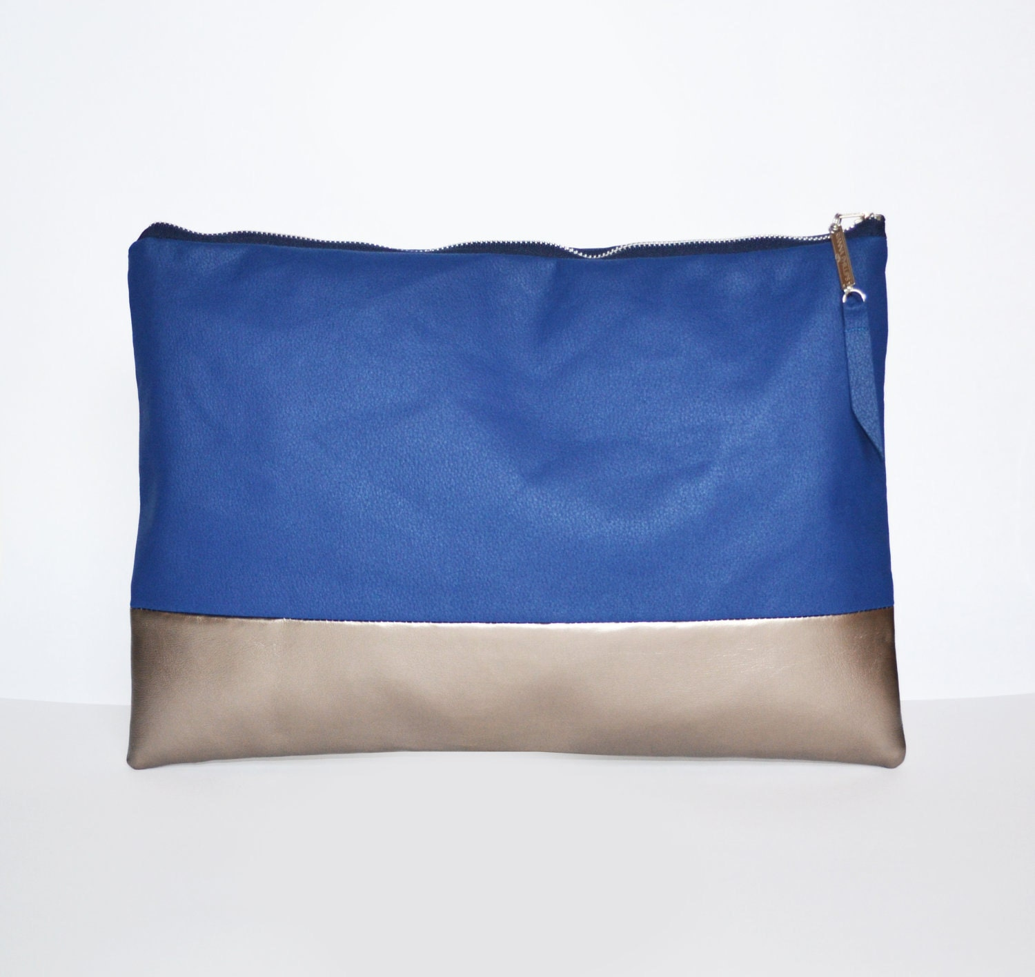 Large Cobalt Blue and Pewter Portfolio Clutch Bag