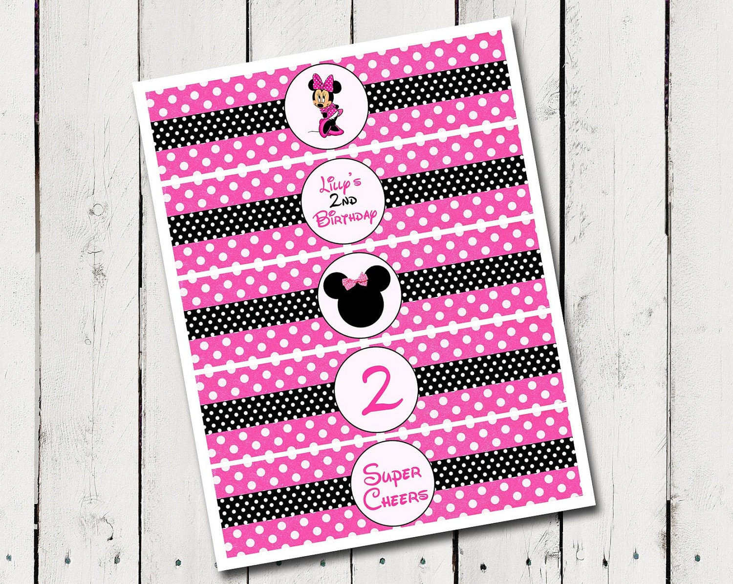 Minnie Mouse Water Bottle Labels Birthday by TamiRayCardsandPrint