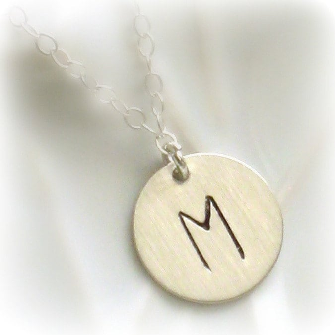 large initial tag necklace monogram letter by