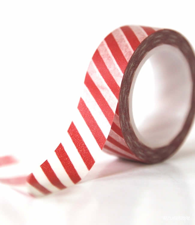 Stripe Red Washi Tape Chugoku - PrettyTape