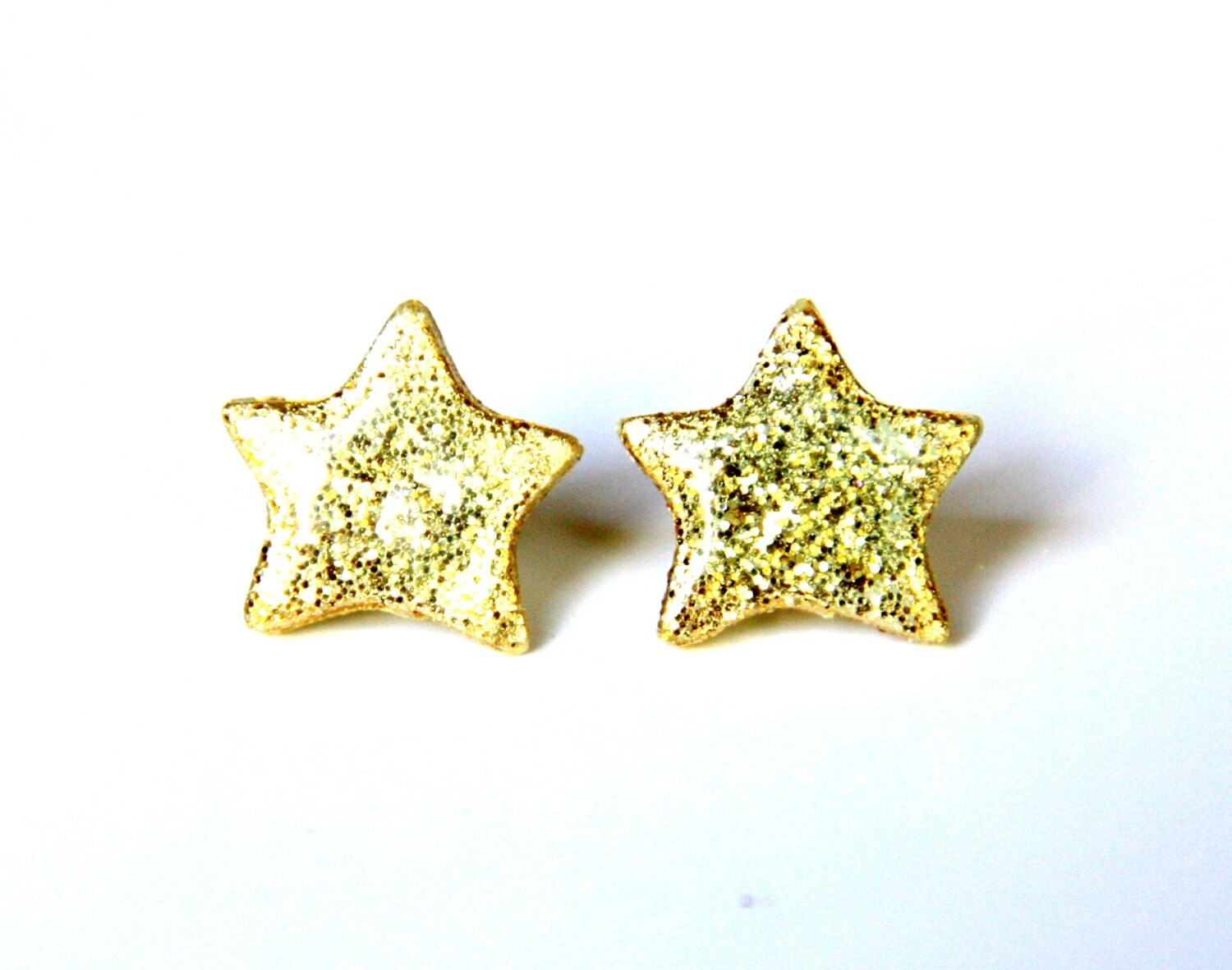 TEACHERS PET Gold Star Earrings Glitter Gold Dust Twinkle night sky Spangled Galaxy resin polymer clay - JeuneMariee
