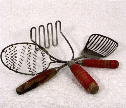 Vintage Kitchen Utensils Red Wood Handle By
