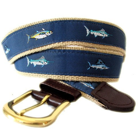 Saltwater Fish Mens Or Boys Belt With Custom By