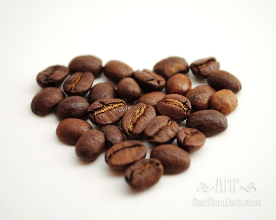 Coffee Heart - 8x10 Fine Art Photographic Print - High Quality - POE Member - Coffee Beans - Brown Color - Heart Love