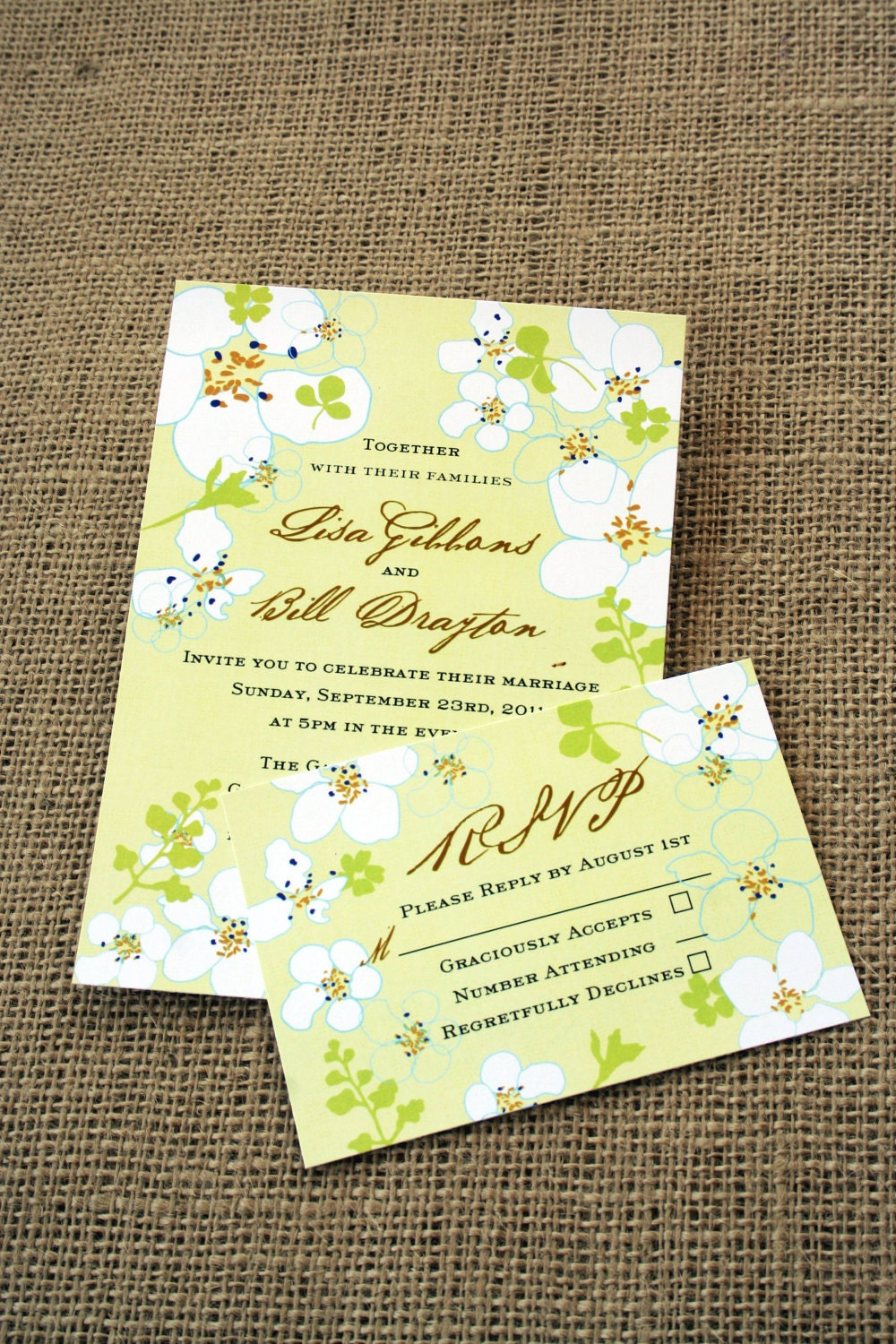 White Flowers Wedding Invitation Suite Pretty Modern Classic