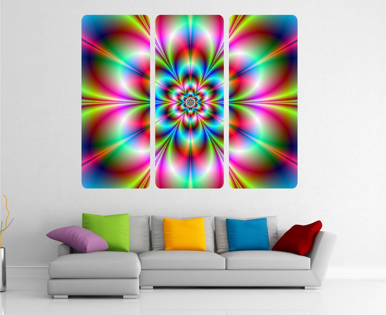 Kaleidoscope illusion Fun 3 Piece Modern Abstract Wall Art Sticker Decal Print WAPK102