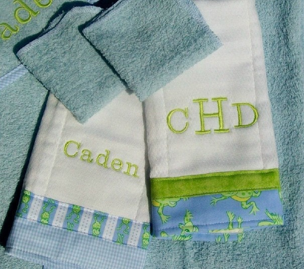 Baby Boy Gift Set Blue and Green with Frogs Custom Five pcs Hooded Towel Washcloths Burp Cloths Embroidered Names Included - DownHomeDesigns