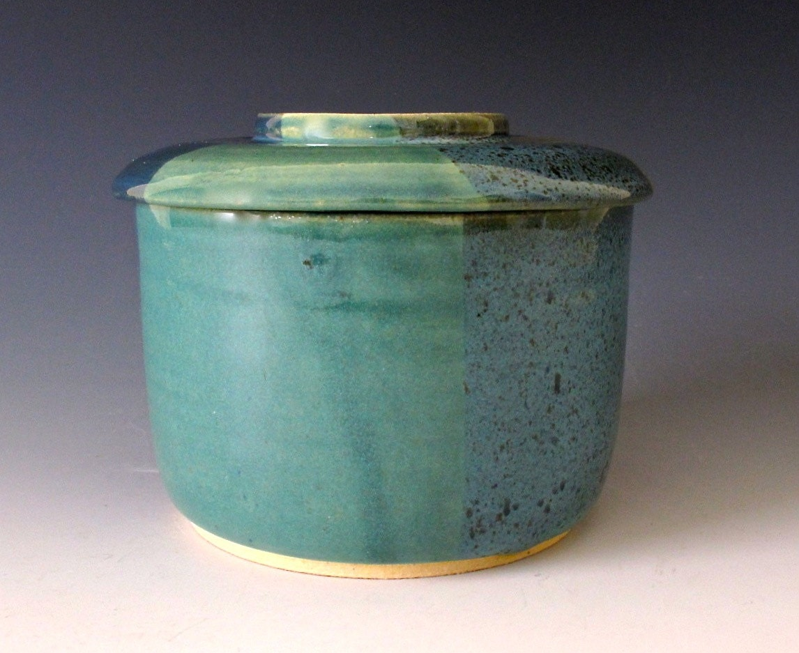 Large French Butter Keeper. Blues and Greens. Turquoise. Gray-Blue. Midnight Green. Navy. Teal Green. Light Jade. Artisan Stoneware. OOAK