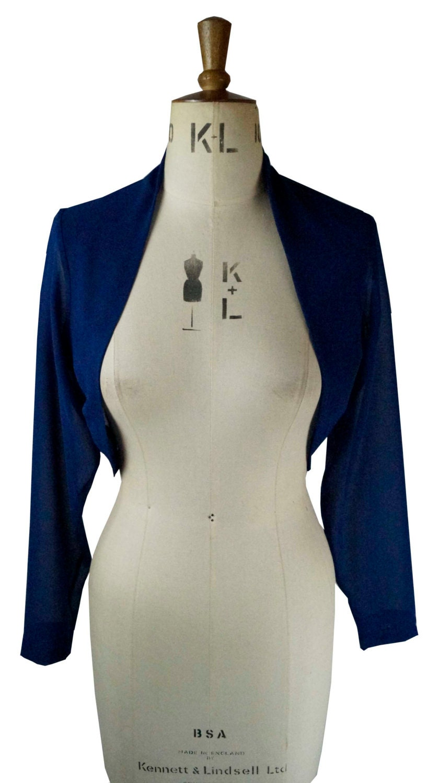 Baylis  Knight Navy Blue CHIFFON Sheer Cropped Long Sleeved Bolero Cardigan Wrap Stole Shrug Summer Wedding