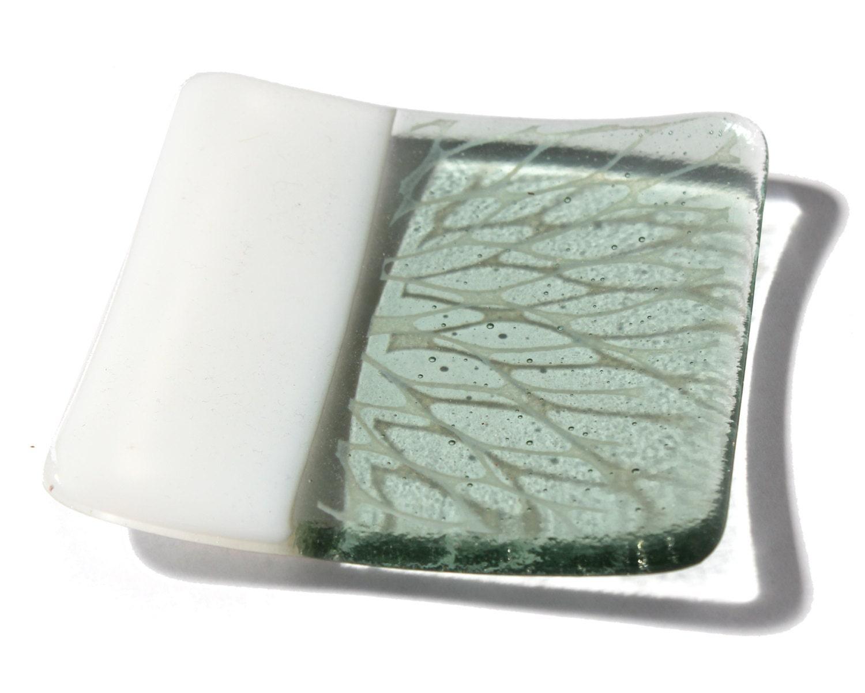 Modern fused glass plate- minimalist hand printed floral design