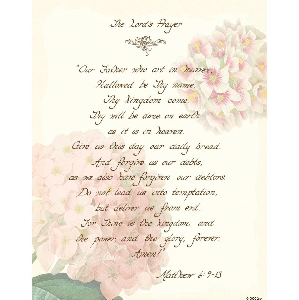 Items Similar To The Lords Prayer Matthew 6 9 13 11x14