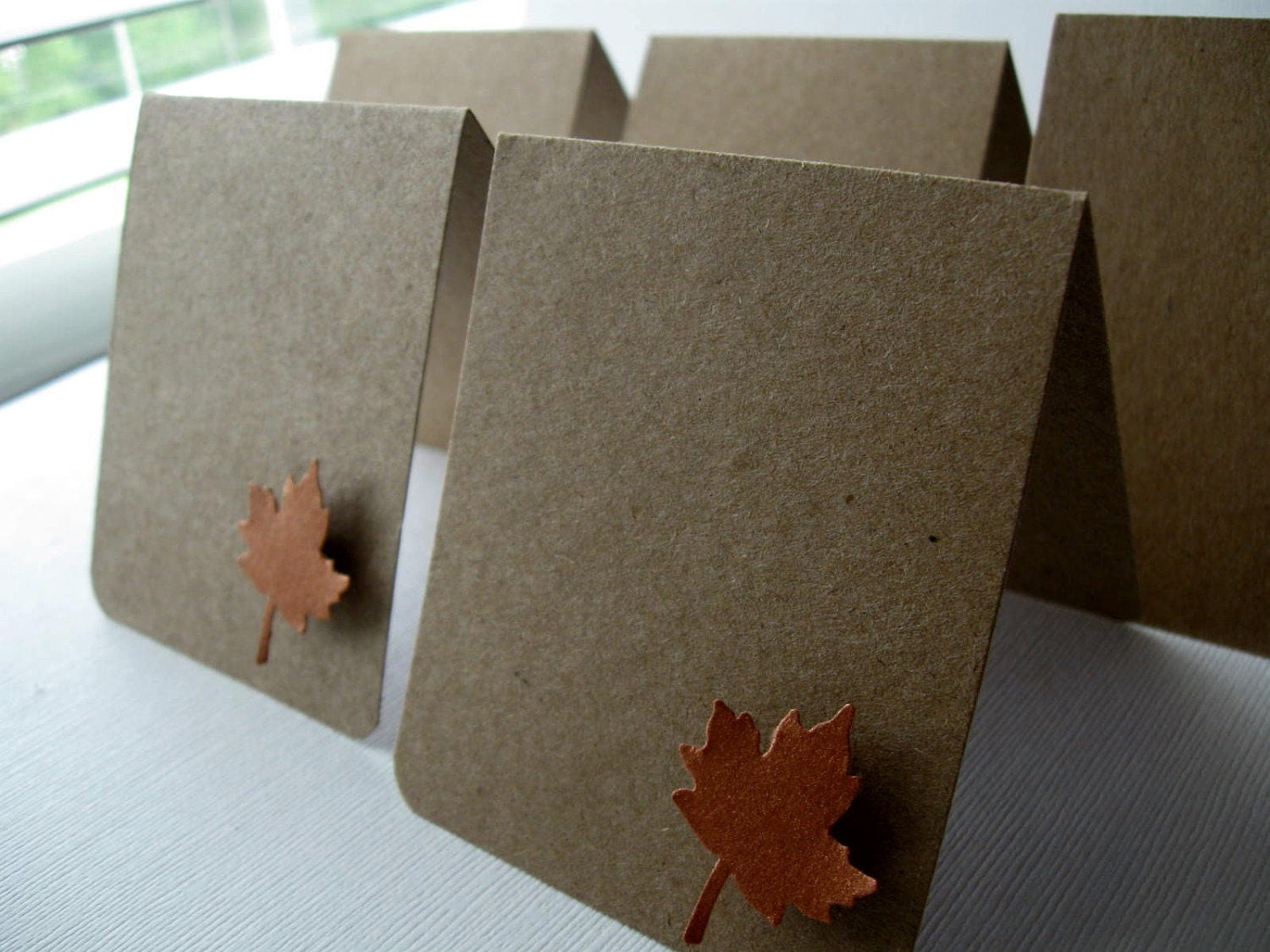 Kraft & Copper Maple Leaf Blank Placecards Set/6 Mini Cards Fall Autumn