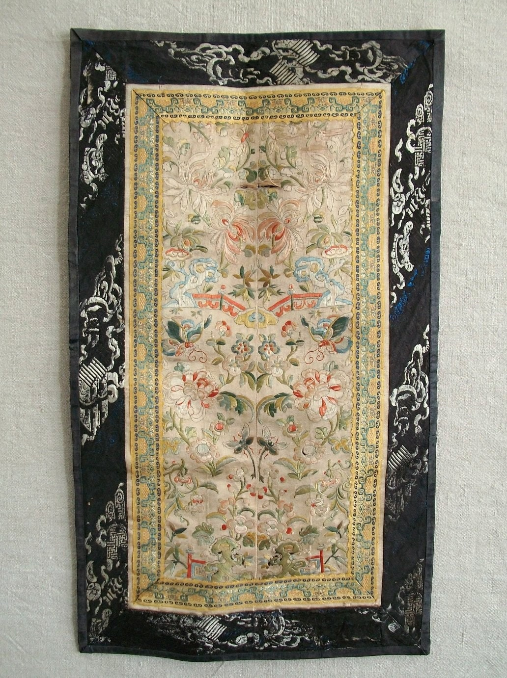 Antique Chinese Silk Embroidered Wall Hanging By