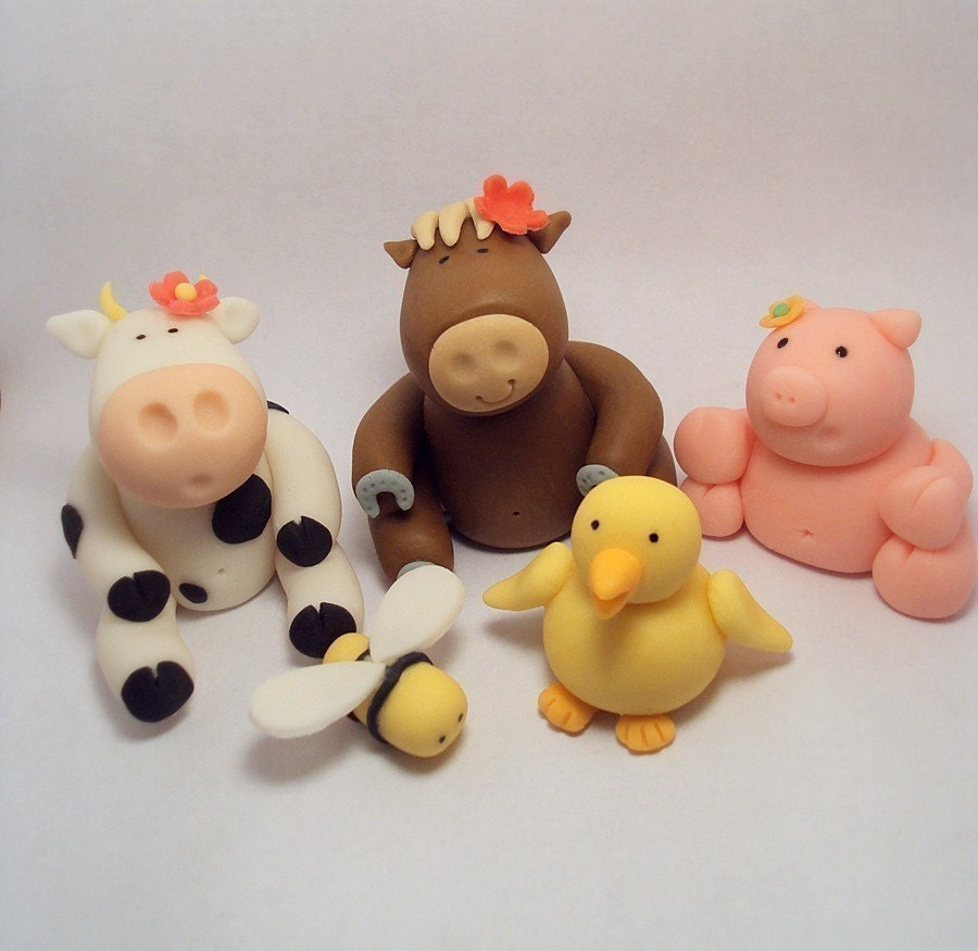 Cake Decorations Farm Animals : Farm Animals Set of 6 Cupcake or Cake Toppers by ...