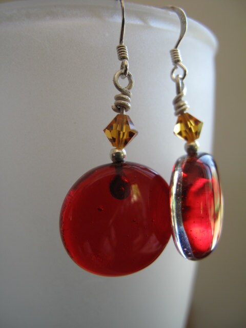 Transparent Red Fused Glass Earrings with Amber Swarkovski Crystals