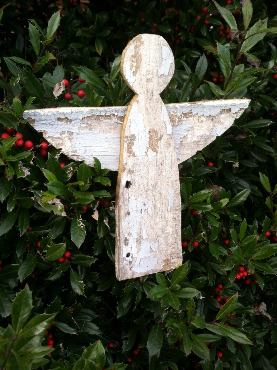 Reclaimed barn wood wooden angel tree topper by for Angel christmas tree decoration